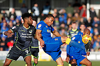 Darius Charles of AFC Wimbledon clears the danger during the Sky Bet League 1 match between AFC Wimbledon and Bristol Rovers at the Cherry Red Records Stadium, Kingston, England on 17 February 2018. Photo by Carlton Myrie.