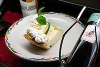 Key lime pie at the Salt Rock Grill which overlooks The Narrows of the Gulf Intercoastal Waterway.  Indian Shores Tampa Bay Area Florida USA
