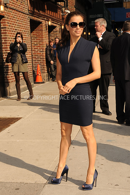 WWW.ACEPIXS.COM . . . . . .April 4, 2011...New York City...Eva Longoria tapes the Late Show with David Letterman on April 4, 2011 in New York City....Please byline: KRISTIN CALLAHAN - ACEPIXS.COM.. . . . . . ..Ace Pictures, Inc: ..tel: (212) 243 8787 or (646) 769 0430..e-mail: info@acepixs.com..web: http://www.acepixs.com .
