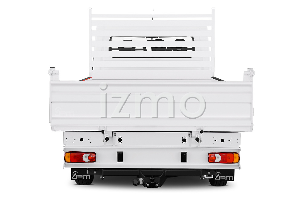 Straight rear view of 2019 Peugeot Boxer PRO-SR 4 Door Chassis Cab Rear View  stock images