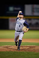 Brooklyn Cyclones relief pitcher Tommy Wilson (9) delivers a pitch during a game against the Tri-City ValleyCats on August 21, 2018 at Joseph L. Bruno Stadium in Troy, New York.  Tri-City defeated Brooklyn 5-2.  (Mike Janes/Four Seam Images)