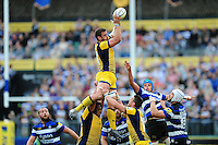Carl Kirwan of Worcester Warriors claims the ball in the air. Aviva Premiership match, between Bath Rugby and Worcester Warriors on September 17, 2016 at the Recreation Ground in Bath, England. Photo by: Patrick Khachfe / Onside Images