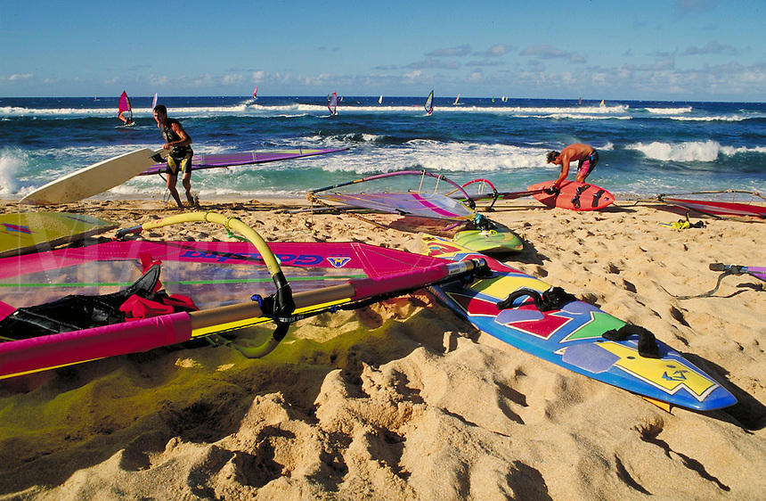 sailboards on beach. Hawaii, Maui.