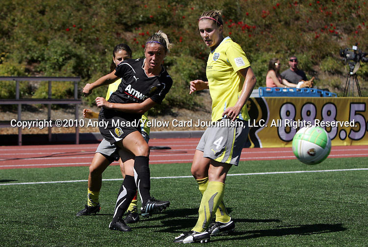 26 September 2010: FC Gold Pride's Camille Abily (left) and Philadelphia's Jen Buczkowski (4). FC Gold Pride defeated the Philadelphia Independence 4-0 at Pioneer Stadium in Heyward, California in the Women's Professional Soccer championship game.