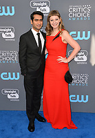 Kumail Nanjiani & Emily V. Gordon  at the 23rd Annual Critics' Choice Awards at Barker Hangar, Santa Monica, USA 11 Jan. 2018<br /> Picture: Paul Smith/Featureflash/SilverHub 0208 004 5359 sales@silverhubmedia.com