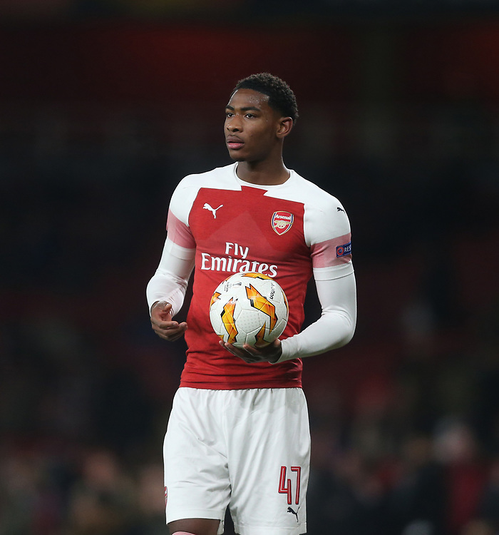 Arsenal's Zechariah Medley<br /> <br /> Photographer Rob Newell/CameraSport<br /> <br /> UEFA Europa League Group E - Arsenal v FK Qarabag - Thursday 13th December 2018 - Emirates Stadium - London<br />  <br /> World Copyright © 2018 CameraSport. All rights reserved. 43 Linden Ave. Countesthorpe. Leicester. England. LE8 5PG - Tel: +44 (0) 116 277 4147 - admin@camerasport.com - www.camerasport.com