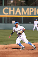 Trent Chatterton (8) of the UCLA Bruins at shortstop during a game against the North Carolina Tar Heels at Jackie Robinson Stadium on February 20, 2016 in Los Angeles, California. UCLA defeated North Carolina, 6-5. (Larry Goren/Four Seam Images)