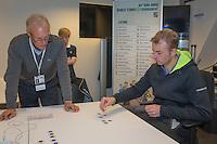 Rotterdam, Netherlands, 11 februari, 2017, ABNAMROWTT,  Qualyfying round,  Supermatch winner Glen Smit does the draw<br /> Photo: Henk Koster