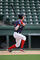 Shortstop Grant Williams (4) of the Greenville Drive bats in a game against the Delmarva Shorebirds on Friday, August 2, 2019, in the continuation of rain-shortened game begun August 1, at Fluor Field at the West End in Greenville, South Carolina. Delmarva won, 8-5. (Tom Priddy/Four Seam Images)