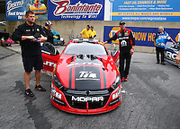 Oct 2, 2016; Mohnton, PA, USA; Crew members with NHRA pro stock driver Erica Enders-Stevens during the Dodge Nationals at Maple Grove Raceway. Mandatory Credit: Mark J. Rebilas-USA TODAY Sports