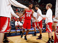 North Carolina State forward T.J. Warren (24) walks through the huddle during the game against Virginia Saturday in Charlottesville, VA. Virginia defeated NC State 58-55.
