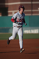 Matt Winaker (21) of the Stanford Cardinal runs the bases during a game against the Southern California Trojans at Dedeaux Field on April 6, 2017 in Los Angeles, California. Southern California defeated Stanford, 7-5. (Larry Goren/Four Seam Images)