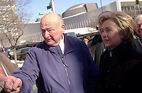 NY Senator Hillary Rodham Clinton (R) is joined by former NYC Mayor Edward I. Koch (L) and Jewish community leaders in front of the United Nations on February 1, 2004 in opposing the International Court of Justice's plan to review the legality of Israel's security fence.  Clinton and the supporters believe that the fence is a legitimate response to the onslaught of terrorist attacks against Israelis. (© Richard B. Levine)