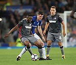 Michael Keane of Everton tussles with Franck Ohandza of Hajduk Split during the Europa League Qualifying Play Offs 1st Leg match at Goodison Park Stadium, Liverpool. Picture date: August 17th 2017. Picture credit should read: David Klein/Sportimage