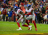 New York Giants defensive back Michael Thomas (31), followed by New York Giants free safety Curtis Riley (35) returns an interception in the fourth quarter against the Washington Redskins at FedEx Field in Landover, Maryland on Sunday, December 9, 2018.  The Giants won the game 40 - 16.<br /> Credit: Ron Sachs / CNP<br /> (RESTRICTION: NO New York or New Jersey Newspapers or newspapers within a 75 mile radius of New York City)