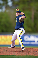 Michigan Wolverines relief pitcher Bryan Pall (6) delivers a pitch during the second game of a doubleheader against the Canisius College Golden Griffins on February 20, 2016 at Tradition Field in St. Lucie, Florida.  Michigan defeated Canisius 3-0.  (Mike Janes/Four Seam Images)