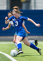 NWA Democrat-Gazette/CHARLIE KAIJO Rogers High School midfielder Skylurr Patrick (3) drives the ball down the field during the semifinals of the 7A Girls State Soccer Tournament, Saturday, May 12, 2018 at Whitey Smith Stadium at Rogers High School in Rogers. Rogers advanced to the finals when midfielder Skylurr Patrick (3) scored both of Rogers' goals defeating Southside High School, 2-1.