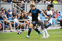 SAN JOSE, CA - AUGUST 24: Florian Jungwirth #23 of the San Jose Earthquakes and Yordy Reyna #29 of the Vancouver Whitecaps during a game between Vancouver Whitecaps FC and San Jose Earthquakes at Avaya Stadium on August 24, 2019 in San Jose, California.