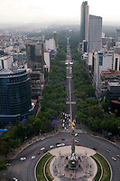 Avenida Reforma, the Angel of Independence. Aerial photographs of Mexico City shooting location for future bisentenial arc.  Fernando Romero