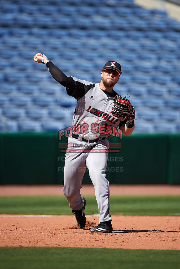 Louisville Cardinals Justin Lavey (16) during practice before a game against the Ball State Cardinals on February 19, 2017 at Spectrum Field in Clearwater, Florida.  Louisville defeated Ball State 10-4.  (Mike Janes/Four Seam Images)