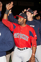 Pawtucket Red Sox outfielder Tony Thomas #2 after game four of a best of five playoff series against the Empire State Yankees at Frontier Field on September 8, 2012 in Rochester, New York.  Pawtucket defeated Empire State 7-1 to advance to the International League Finals.  (Mike Janes/Four Seam Images)