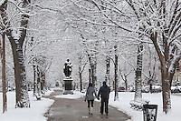 Glover statue, Commonwealth Avenue snow, Back Bay, Boston, MA