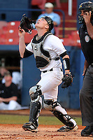 Western Michigan Broncos catcher Caleb Caton #36 during a game against the Illinois State Redbirds at Chain of Lakes Stadium on March 10, 2012 in Winter Haven, Florida.  Illinois State defeated Western Michigan 10-9.  (Mike Janes/Four Seam Images)