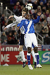19 November 2008: Clarence Goodson (IK Start)(left) of the USA gets above Mario Acevedo (Municipal)(9) of Guatemala to win a head ball.  The United States Men's National Team defeated the visiting Guatemala Men's National Team 2-0 at Dick's Sporting Goods Park in Commerce City, Colorado in a CONCACAF semifinal round FIFA 2010 South Africa World Cup Qualifier.