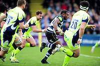 Semesa Rokoduguni of Bath Rugby goes on the attack. Aviva Premiership match, between Bath Rugby and Sale Sharks on April 23, 2016 at the Recreation Ground in Bath, England. Photo by: Patrick Khachfe / Onside Images