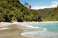 Women at Smoothwater Bay near Jackson Bay, South Westland, West Coast, UNESCO World Heritage Area, South Island, New Zealand, NZ