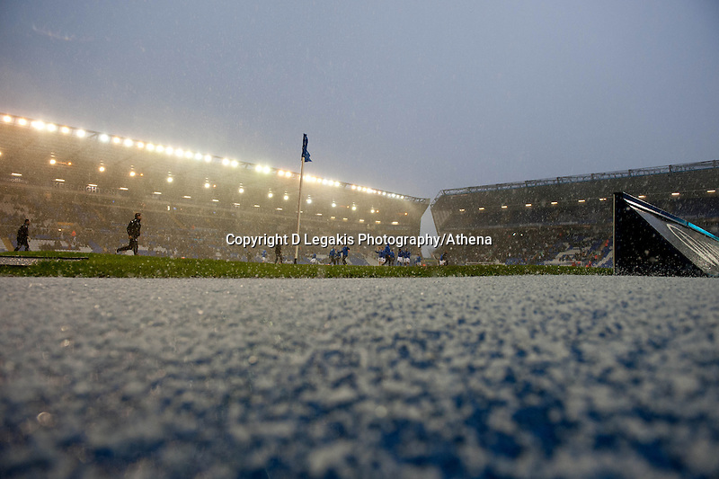 Saturday 25 January 2014<br /> Pictured: Hail stones  cover the ground at  St Andrew's Stadium, Birmingham<br /> Re: Birmingham City v Swansea City FA Cup fourth round match at St. Andrew's Birimingham