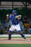 GCL Blue Jays catcher Hagen Danner (33) throws down to second in between innings during a game against the GCL Pirates on July 20, 2017 at Bobby Mattick Training Center at Englebert Complex in Dunedin, Florida.  GCL Pirates defeated the GCL Blue Jays 11-6 in eleven innings.  (Mike Janes/Four Seam Images)