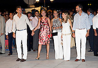 Members of The Spanish Royal Family ( L to R ) Inaki Urdangarin, Infanta Cristina, Infanta Elena, Princess Letizia, and Crown Prince Felipe,  attend a Cocktail Party at The Poseidonion Hotel, in Spetses, Greece, on the eve of the Wedding of Prince Nikolaos of Greece to Tatiana Blatnik.