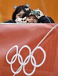 A few hardy souls braved the windy weather. Womens Slalom. Alpine Skiing. Yongpyong alpine centre. Pyeongchang2018 winter Olympics. Alpensia. Republic of Korea. 14/02/2018. ~ MANDATORY CREDIT Garry Bowden/SIPPA - NO UNAUTHORISED USE - +44 7837 394578