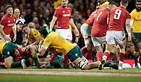 Australia's Adam Coleman scores his sides second try<br /> <br /> Photographer Simon King/CameraSport<br /> <br /> International Rugby Union - 2017 Under Armour Series Autumn Internationals - Wales v Australia - Saturday 11th November 2017 - Principality Stadium - Cardiff<br /> <br /> World Copyright &copy; 2017 CameraSport. All rights reserved. 43 Linden Ave. Countesthorpe. Leicester. England. LE8 5PG - Tel: +44 (0) 116 277 4147 - admin@camerasport.com - www.camerasport.com