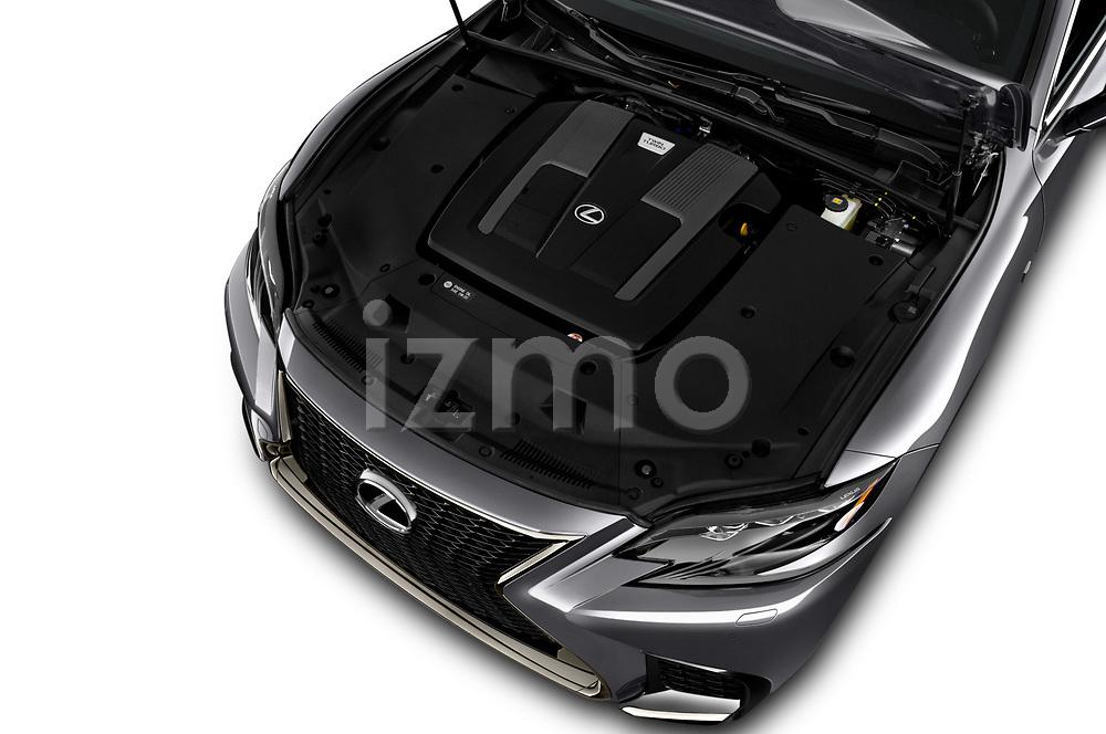 Car stock 2018 Lexus LS 500 F-SPORT 4 Door Sedan engine high angle detail view