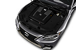 Car stock 2018 Lexus LS 500 F-SPORT 4 Door Sedan engine high angle detail view
