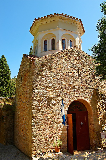 The Byzantine chapel & Ossary of Nea Moni built by Constantine IX and Empress Zoe after the miraculous appearance of an Icon of the Virgin Mary at the site and inaugurated in 1049. Scene of a terrible sack and massacre of hundreds of Chiots and priests during the Ottoman sack of Chios in reprisal for the 1821 Greek War of Indipendance. Nea Moni monastery, Chios Island, Greece. A UNESCO World Heritage Site.