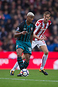 30th September, bet365 Stadium, Stoke-on-Trent, England; EPL Premier League football, Stoke City versus Southampton; Stoke City's Mame Biram Diouf with Stoke City's Peter Crouch