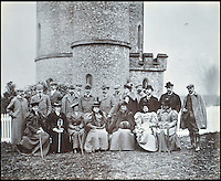 BNPS.co.uk (01202 558833)<br /> Pic: Lawrences/BNPS<br /> <br /> Prince Edward (later Edward VII) centre, with the 5th Earl of Carnarvon immediately to his left. Between them in the front row sits Carnarvon's then wife, Almina, Countess of Carnarvon.<br /> <br /> An intimate set of portraits of the real Downton Abbey which include the visit of the future king have been unearthed after more than 120 years.<br /> <br /> The magnificent 19th century Highclere Castle, in Hampshire, was home to George Herbert, fifth Earl of Carnarvon, and his wife Almina Herbert in the late 19th and early 20th century.<br /> <br /> The album, which is up for auction, contains 44 large mounted photographs of the house, staff and estate of Highclere in 1895.<br /> <br /> Included are images of Carnarvon with his wife Almina, various shooting parties including one involving Prince Edward (the future Edward VII) and the house staff.