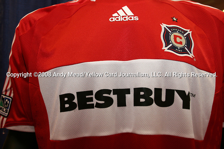 17 January 2008: The new 2008 Chicago Fire jersey was on display in the Exhibit Hall. The 2008 National Soccer Coaches Association of America's annual convention was held at the Convention Center in Baltimore, Maryland.