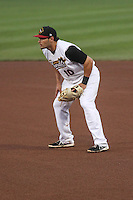 Quad Cities River Bandits first baseman Bryan Muniz (10) during a Midwest League game against the Wisconsin Timber Rattlers on May 8th, 2015 at Modern Woodmen Park in Davenport, Iowa.  Quad Cities defeated Wisconsin 11-6.  (Brad Krause/Four Seam Images)