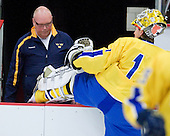 Per-Åke Bäckman (Sweden - Equipment Manager), Stefan Steen (Sweden - 1) - Sweden's Under-20 team defeated the Harvard University Crimson 2-1 on Monday, November 1, 2010, at Bright Hockey Center in Cambridge, Massachusetts.