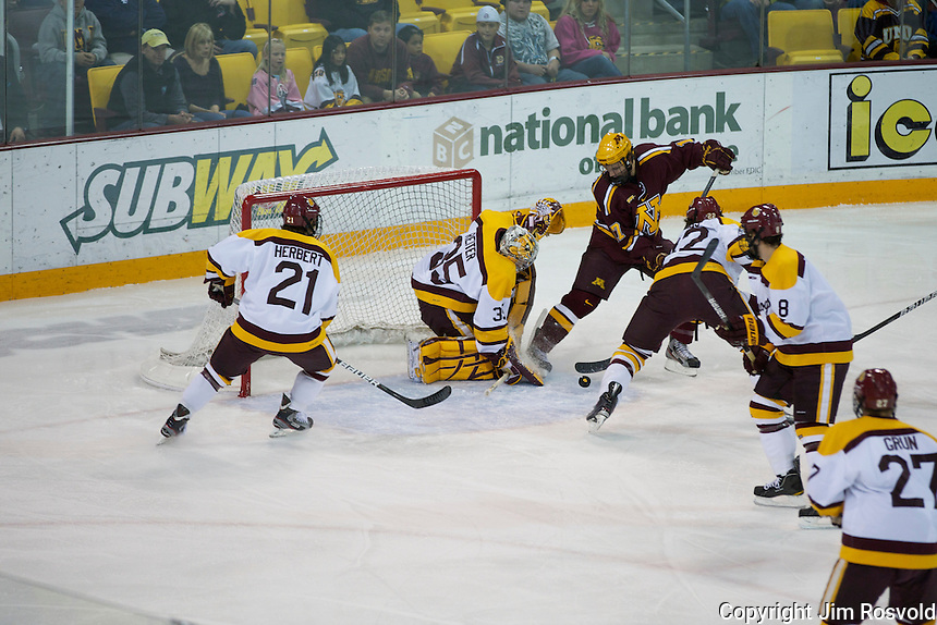 14 Oct 11: Seth Ambroz (Minnesota - 17) The University of Minnesota-Duluth Bulldogs host the University of Minnesota Golden Gophers in a WCHA matchup at Amsoil Arena in Duluth, MN.