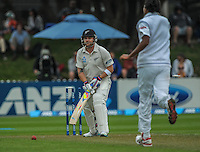 Brendon McCullum is bowled for a duck during day one of the 2nd cricket test match between the New Zealand Black Caps and Sri Lanka at the Hawkins Basin Reserve, Wellington, New Zealand on Saturday, 3 February 2015. Photo: Dave Lintott / lintottphoto.co.nz