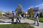 Cab drivers protest in front of the Legislative Building in Carson City, Nev., on Monday, March 30, 2015. Lawmakers are considering several measures to create regulation for the ride-hailing industry like Uber and Lyft. <br /> Photo by Cathleen Allison