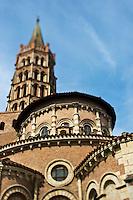 Europe/France/Midi-Pyrénées/31/Haute-Garonne/Toulouse: Basilique Saint-Sernin, étape sur le chemin de Saint-Jacques-de-Compostelle  - Le chevet et le clocher