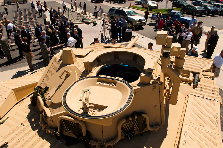 """WASHINGTON, DC - May 4: A view from the top of the U.S. Marines' newest Expeditionary Fighting Vehicle (EFV) prototype as it sits in front of the National Museum of the Marine Corps in Triangle. Va., after its unveiling ceremony. The armored amphibious vehicle is designed carry 17 combatants, plus a three person crew, from Navy ship """"beyond the horizon"""" to objectives inland. The ceremony was held at the(Photo by Scott J. Ferrell/Congressional Quarterly)"""