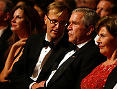 United States President George W. Bush listens to Paul Tetreault, Ford's Theatre Producing Director, at the annual Ford's Theatre Gala in Washington, DC, which is being taped now for airing at Christmastime, on June 24, 2007. <br /> Credit: Chris Maddaloni / Pool via CNP