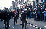 Notting Hill Carnival 1976 London. Police come under attack at the start of the riot.